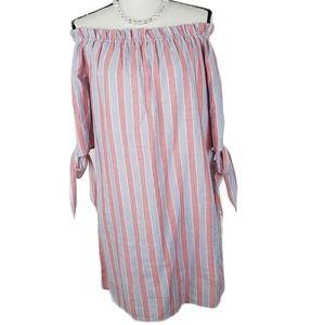 Summer dress vertical stripes cotton Small